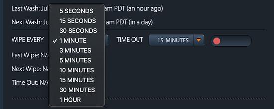 XSmart web interface wipe every menu interval