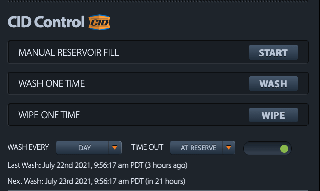 XClear Enclosure Web Interface Showing Schedule Dome Washing Times