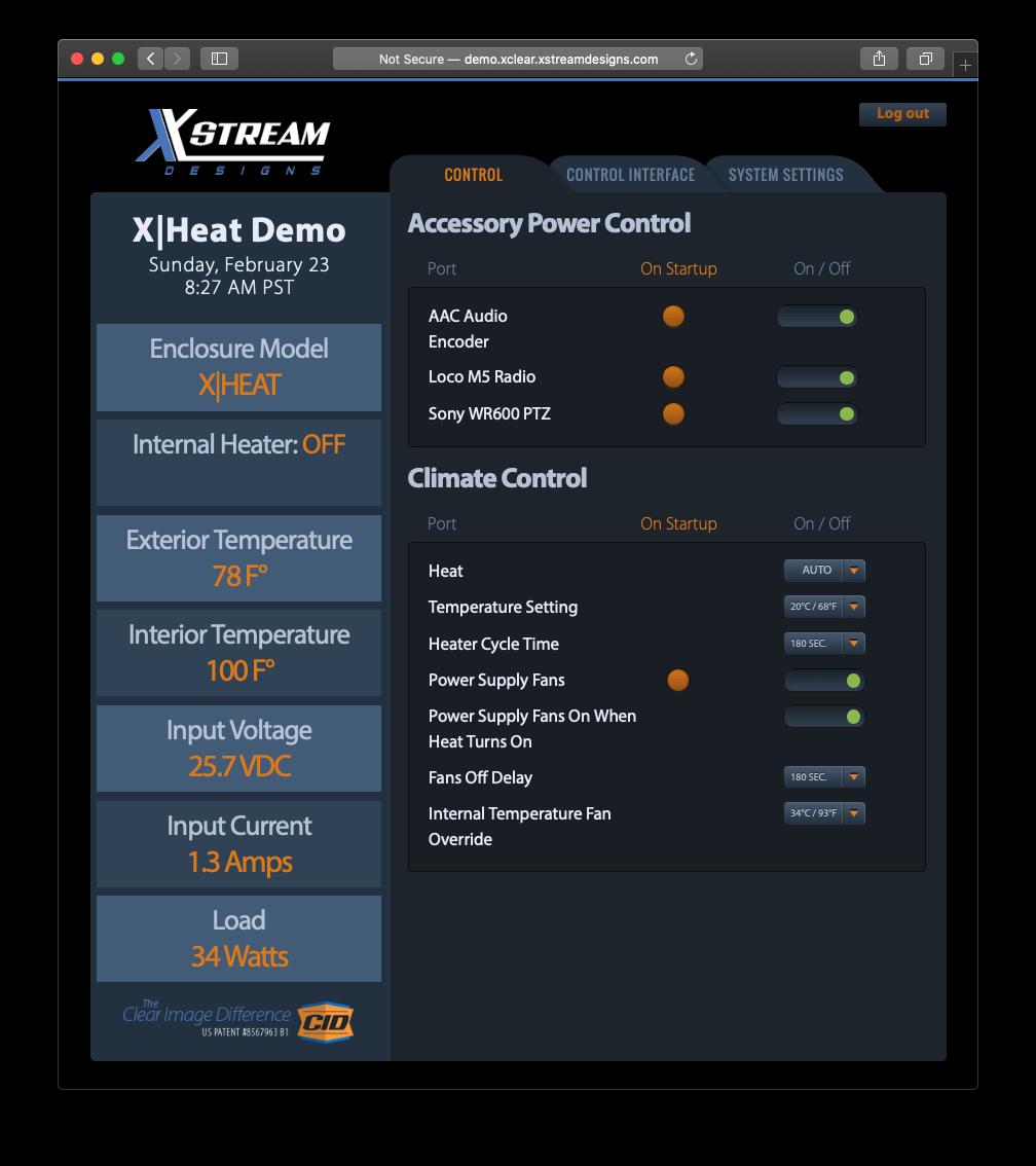 X Stream Designs XHeat Enclosure GUI View